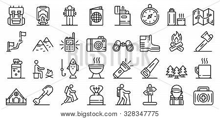 Hiking Icons Set. Outline Set Of Hiking Vector Icons For Web Design Isolated On White Background