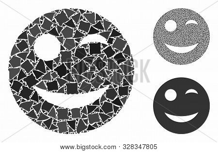 Wink Smiley Mosaic Of Raggy Parts In Various Sizes And Shades, Based On Wink Smiley Icon. Vector Une