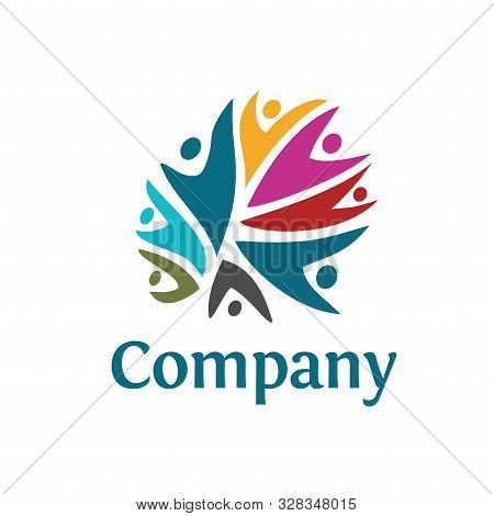 People Community Colorful Logo Template. Teamwork Community Symbol