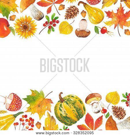 Horizontal Watercolor Frame Of Autumn Leaves, Sunflowers, Mushrooms, Acorns, Cones, Pumpkins, Rowan,