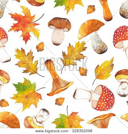 Seamless Autumn Bright, Colorful Pattern Of Leaves, Branches, Mushrooms, Acorns. Hand-drawn Autumn F