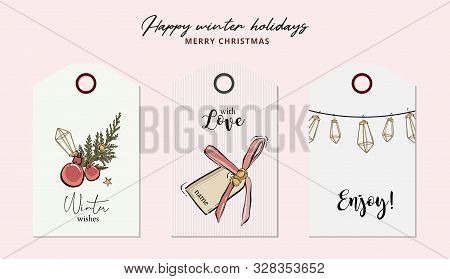 Merry Christmas Hand-drawn Greeting Cards With Jingle Bells, Balls, Geometric Garland And Typography