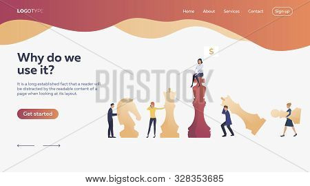 Workers Playing Chess. Chessman, Money, Bargain. Efficiency Concept. Vector Illustration Can Be Used
