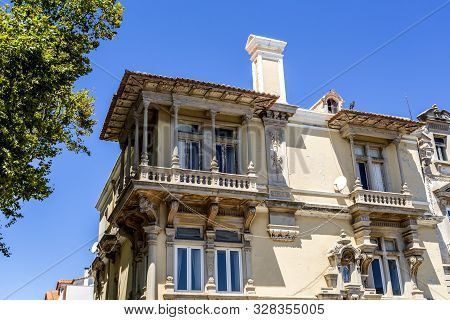 Cascais - August 14, 2019: Neoclassical Summer Architecture Built In Early 20th Century In The Seasi