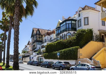 Cascais - August 14, 2019: Beautiful Summer Architecture Along The Famous Street Facing The Bay Of C