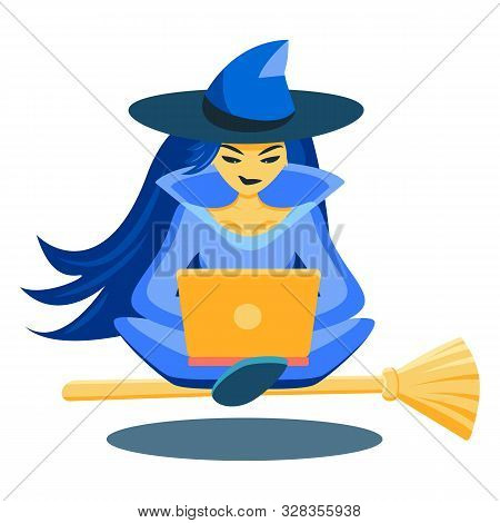 A Sorceress Sits In A Lotus Position On A Broomstick And Looks At A Laptop. The Witch Levitates Abov