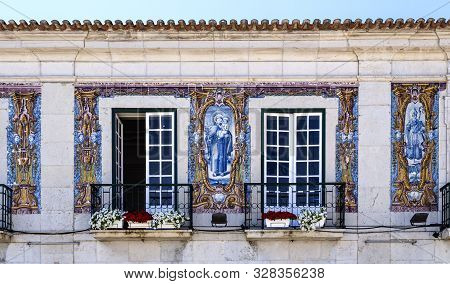 Cascais - August 14, 2019: Detail Of The Facade Of The Old Town Hall Building Of The Coastal Charmin