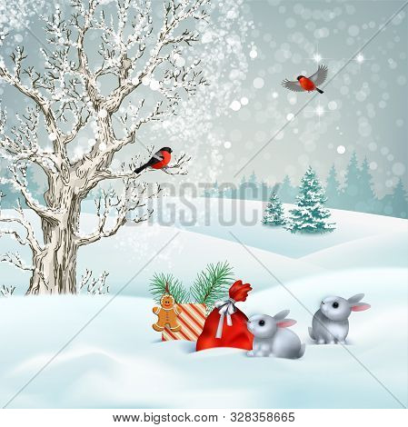 Christmas Winter Scene. Vector Snowy Landscape. Frosty Tree, Snow-covered Hills, Gifts And Rabbits