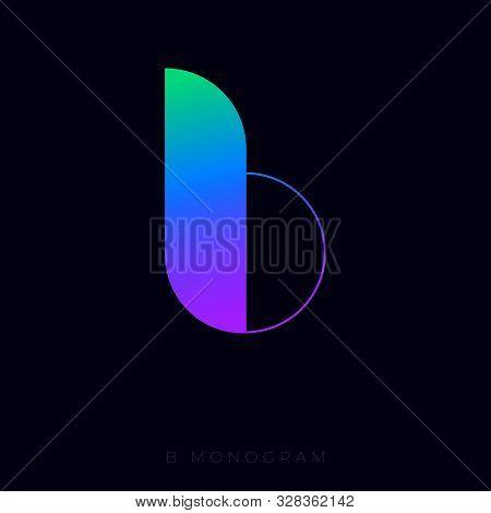 Gradient B Letter. B Logo. B Monogram Isolated, On Dark Backgrounds.