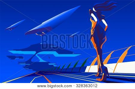 An Imagery Illustration Of A Woman Walking To The Station Or Base For Interstella Transportation In