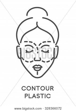 Contour Plastic, Woman Beauty Procedure Or Surgery, Isolated Icon