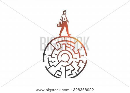 Problem Solving, Decision Making Concept Sketch. Businessman And Circular Maze, Overcoming Obstacle,