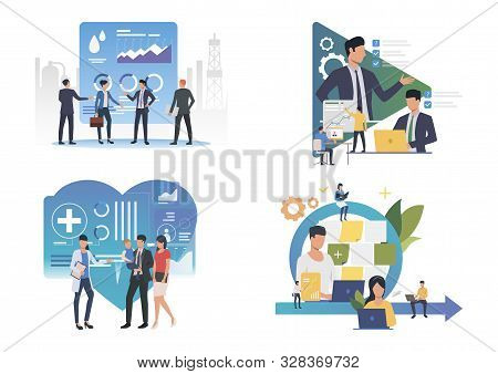 Consulting Illustration Set. People Meeting With Partners, Doctor, Using Computers. Communication Co