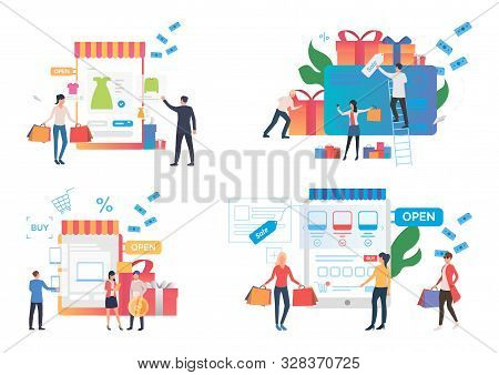 Online Shopping Illustration Set. Customers Buying Gifts, Using Digital Devices And Credit Cards. Co