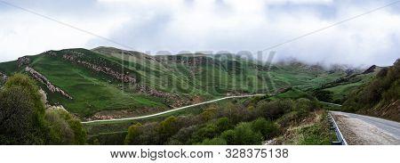 Sharp Panoramic Photo Of Mountain Road Wirh Cloud Sky