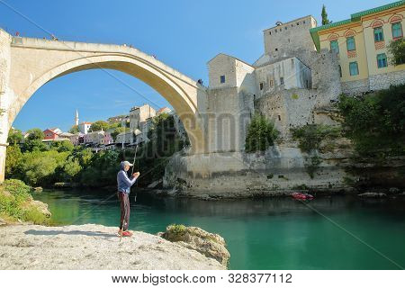 Mostar, Bosnia And Herzegovina - September 21, 2019: The Old Bridge (stari Most), Viewed From The Ba