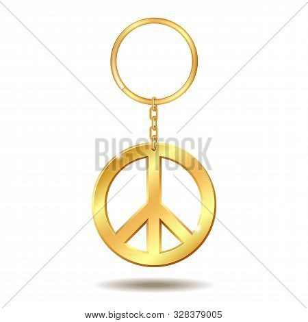 Realistic Golden Keychains With Peace Symbol Isolated On White