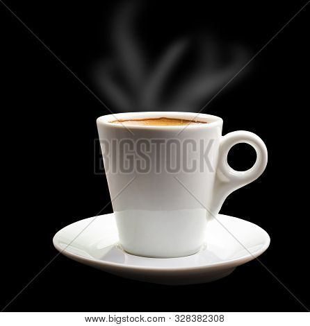 White Cup With Hot Refreshing Espresso Coffee Isolated On Black Background