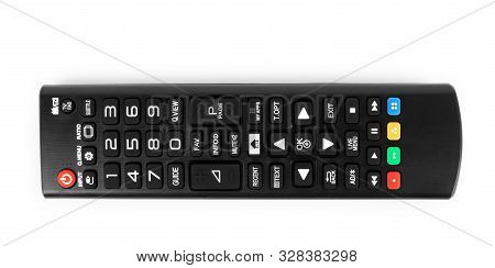 Tv Remote Control Black On White Background