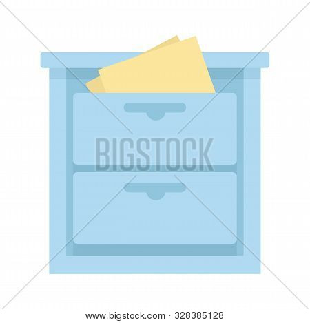 Archive Drawer Icon. Flat Illustration Of Archive Drawer Vector Icon For Web Design