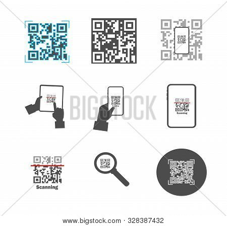 Scan Qr Code With Mobile Smart Phone - Stock Illustration. Online Shopping With The Scan App. Collec