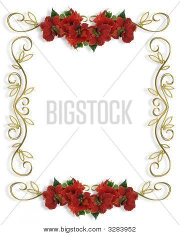 Christmas Border Poinsettias Illustration