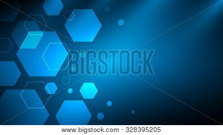 Blue Abstract Hexagon Technology Background With Copyspace,futuristic Tech Background,communication