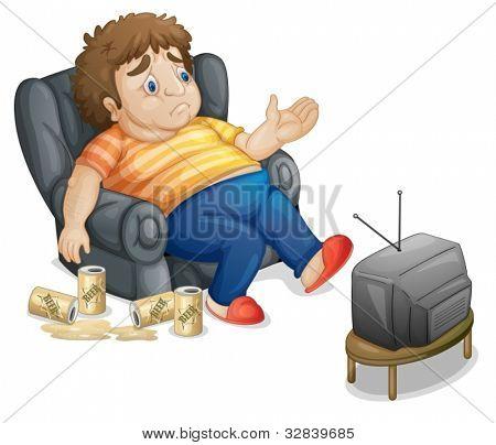 Fett und ungesund Man watching tv