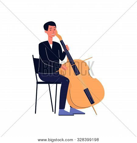 Symphonic Orchestra Musician With Double Bass Or Cello, Flat Vector Isolated.