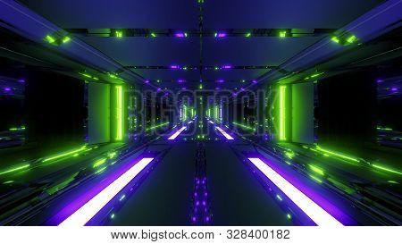 Endless Futuristic Scifi Science-fiction Space Tunnel Corridor Space Hangar 3d Illustration Backgrou