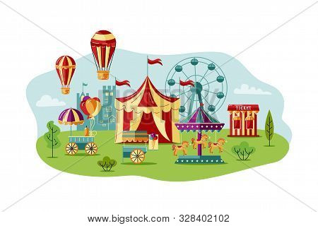 Amusment Park With Circus Tent, Carousel, Castle, Big Whell, Air Ballon. Great For Carnival, Theme P