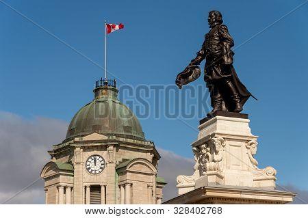 Quebec City, Canada - 4 October 2019: Musee Du Fort & Samuel De Champlain Statue