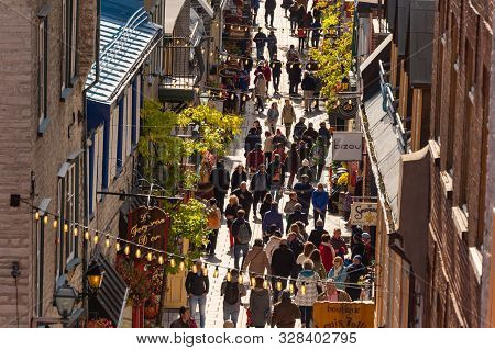 Quebec City, Canada - 4 October 2019: Petit Champlain Street Crowded With Tourists In The Old Quebec