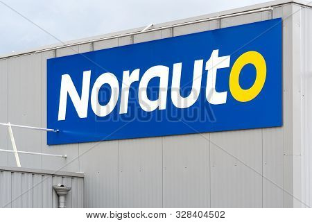 Guilherand-granges, France - October 17, 2019. Logo And Building Of Norauto Car Accessories Store Is