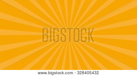 Orange Yellow Sunburst Background. Vector Striped Seamless Pattern With Diagonal Concentric Lines. R
