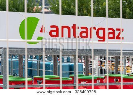 Guilherand-granges, France - October 17, 2019. Logo Of Antargaz Natural Gas Distribution Company Is