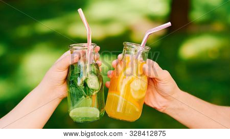 Healthy Lifestyle. Organic Detox Drink. Women Drink Fresh Natural Lemonade To Wellbeing.