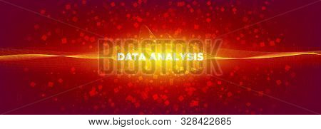 Tech Banner. Glow Particle Motion. Big Data Concept. Red Binary Matrix Background. Orange Tech Poste