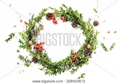 Christmas Rustic Wreath Made Of Natural Traditional Winter Holidays Decor, Noel Greeting Card Concep