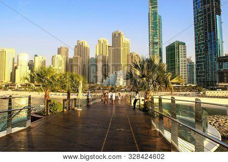 Dubai/uae - October 17, 2019: Panoramic View On Jbr From Bluewaters Pedestrian Bridge. Jumeirah Beac