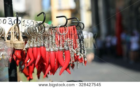 Many Red Cornet As Talisman For Sale In The Streeet Stand In Naples In Italy