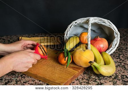 Fruit Still Life With A White Basket And Black Background