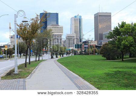 The Winnipeg, Canada City Center In Autumn