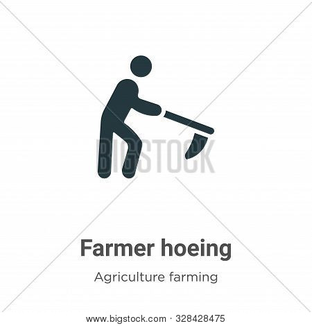 Farmer Hoeing Vector Icon On White Background. Flat Vector Farmer Hoeing Icon Symbol Sign From Moder
