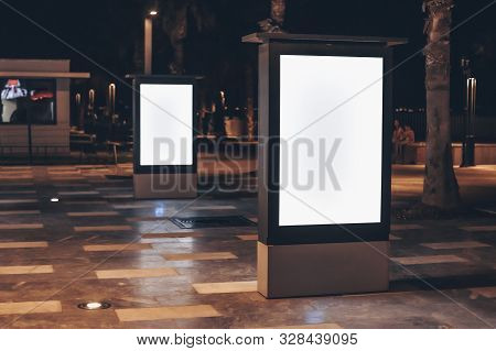 Street Advertising Mockup Template With Copy Space. Two Outdoor Commercial Banners With White Empty
