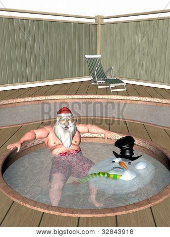 Santa And Frosty Hot Tub
