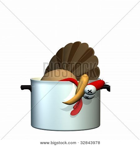 Dead Toon Turkey laying in a pot with his head hanging over the side. Isolated on a white background. poster