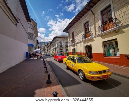 Quito, Ecuador, September 29, 2019: Historic Centre Of Quito, Ecuador. Spanish Colonial Architecture
