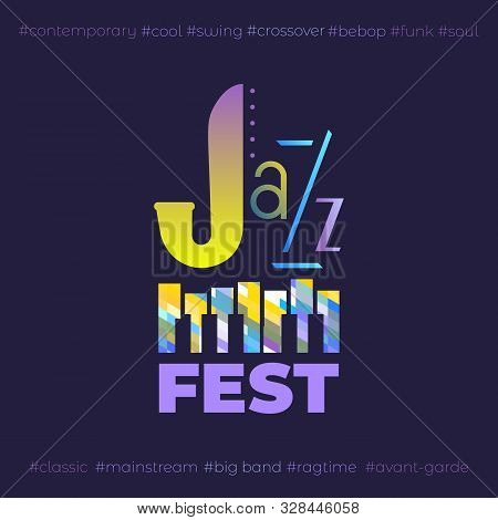Jazz Music Fest Hand Drawn Flat Colorful Vector Icon. Piano Keyboard Silhouette, Lettering Jazz Desi