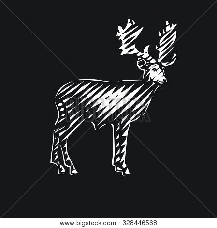 Illustration Of  Beautiful Deer. Black And White Vector Objects.